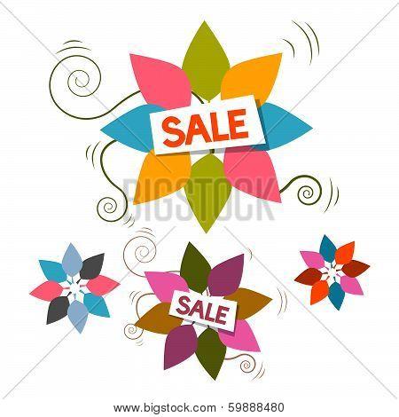 Sale Title on Colorful Leaves Set