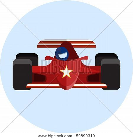 red racing car, flat illustration