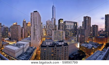A City Skyline At Dusk, Chicago Looking South.