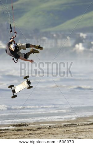 Kite Skateboarder Catching Air