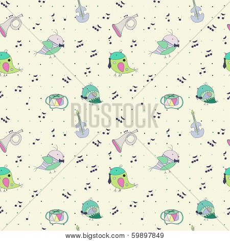 bird musical instrument note. Drum trumpet cello. Use as a fill pattern seamless texture wallpaper backdrop poster