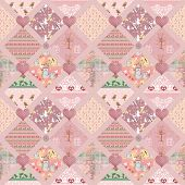 Patchwork kids pink squares seamless pattern texture background poster