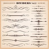 Set of vector vintage calligraphic design elements and page decoration dividers and dashes poster
