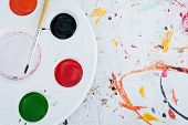 a watercolor white palette with mixed paints poster