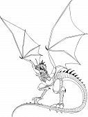 I dragon line drawing ideal for a tattoo. Available as AI8 EPS. poster
