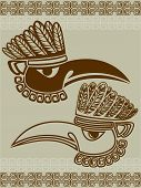 Native American raven mask with pattern, stencil two variants poster
