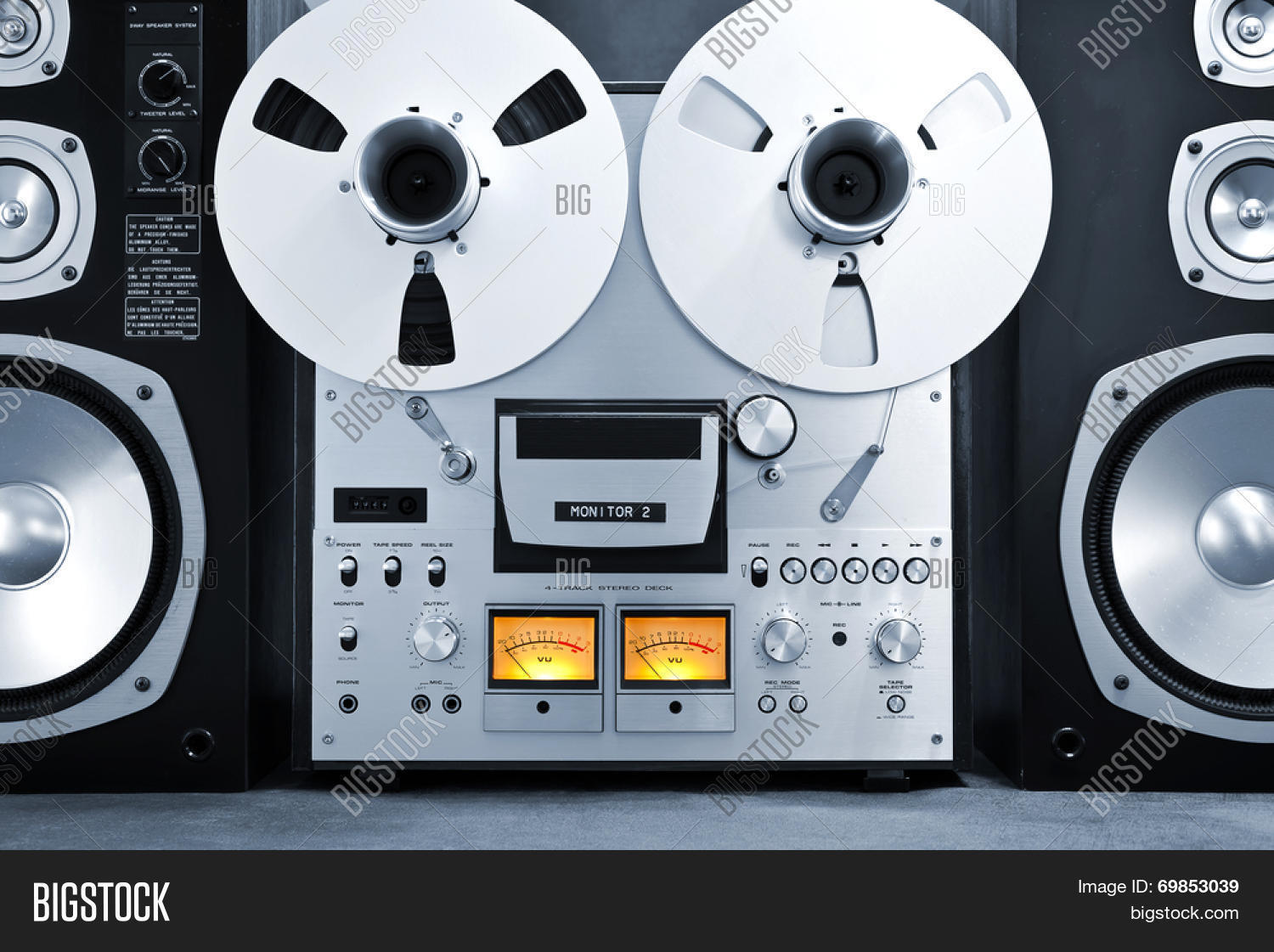 78178f6a8585 Analog Stereo Open Reel Tape Deck Recorder Vintage Closeup. Create a  lightbox