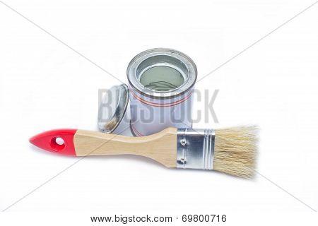 Paintbrush With Paint Pot Isolated On White Background.
