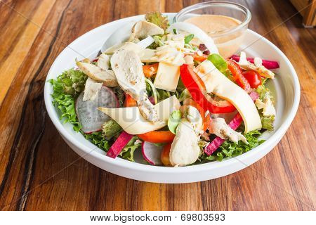 Chicken Cheese Salad With Caesar Dressing
