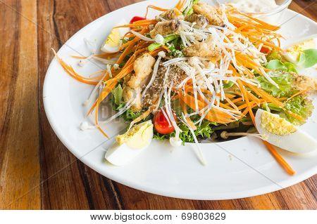 Tempura Mushroom Salad With Garlic Dressing