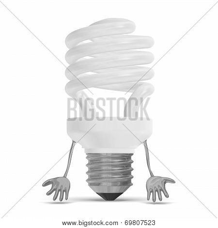 White Discouraged Spiral Light Bulb Character