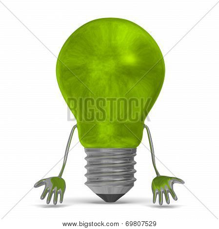 Green Discouraged Tungsten Light Bulb Character