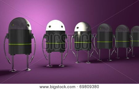 Row Of Robots, One With Glowing Head, Perspective