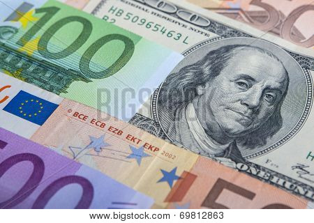 Currency Concept: Closeup Of European And The Us Hard Currencies Together