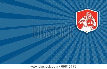 Business Card Sandblaster Sandblasting Hose Shield Woodcut