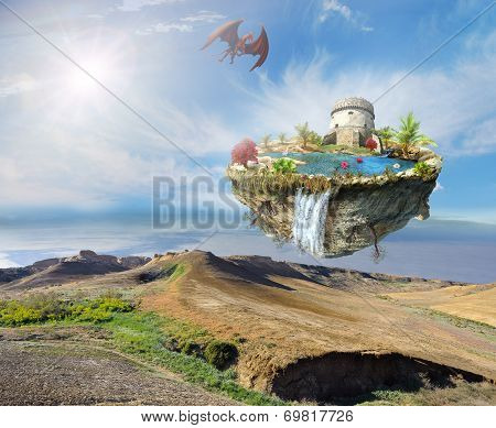 Island Dragon Flying Over A Mountain Landscape
