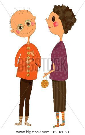 Whimsical Illustration Of An Older Couple