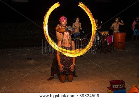 Fire Show Festival At The Beach, Philippines