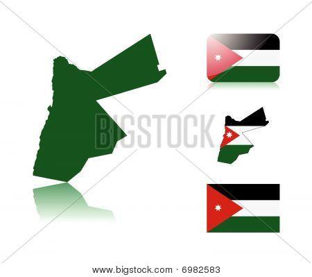Jordanian map and flags