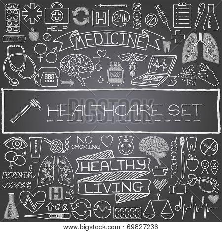 Hand drawn medical set of icons