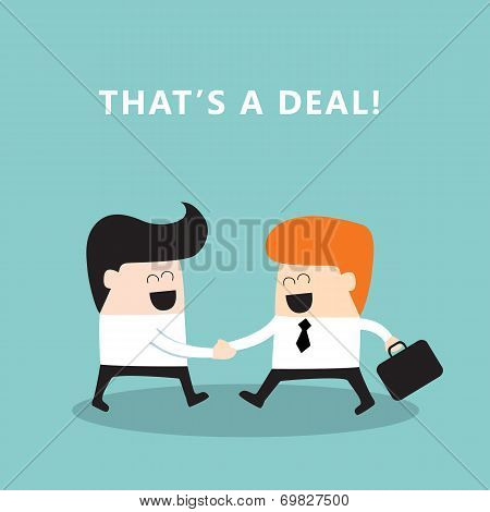 Business people shaking hands Businessmen making a deal successful business concept Vector illustration poster