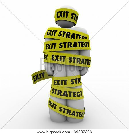 Man or person wrapped in in yellow tape or caught in a contract he can't get out of or escape from