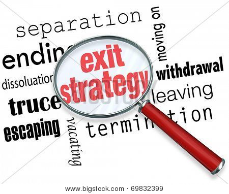 Exit Strategy words under a magnifying glass with terms separation, ending, dissolution, truce, escape, moving on, withdrawal, leaving and termination