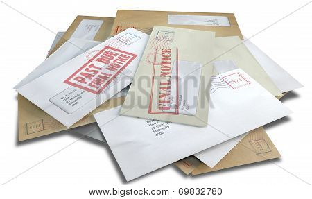 A scattered stack of regular envelopes with delivery stamps and a clear window and the top pink one saying payment due symbolizing bills and debt on an isolated white background poster