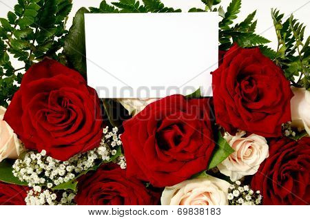 Bouquet of rose flowers with a blank gift card, write your own tekst.