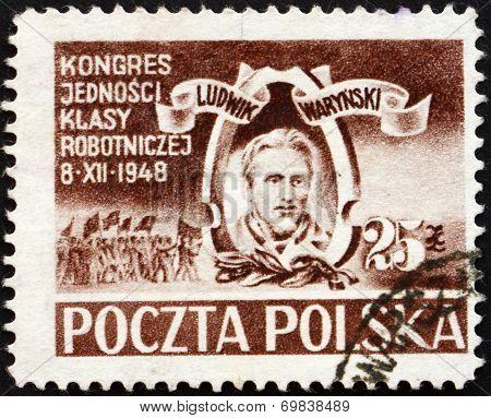 Postage Stamp Poland 1948 Ludwig Warynski