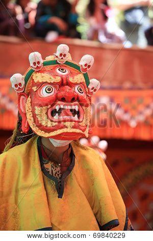 DAK THOK, INDIA-JULY 29 - An unidentified buddhist monk dancing during a festival at Dak Thok Monast