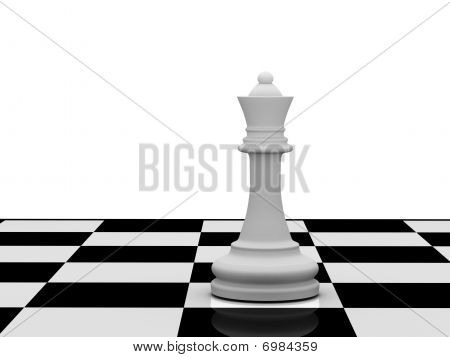 White Chess Queen On Chessboard