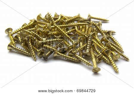 Yellow Brass Screws With A Philips Crosshead