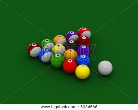 Billiard Balls On Pool Cloth