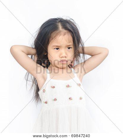 Portrait Of  Unhappy Little Girl.