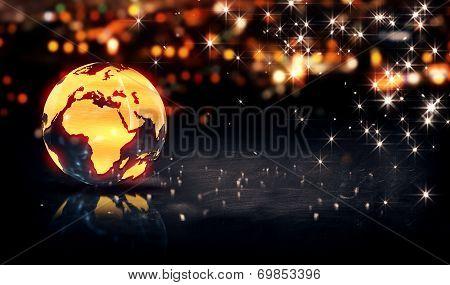 Globe Glass Crystal Gold City Light Shine Bokeh 3D Background