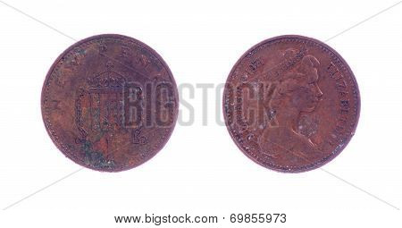 One penny coin over a white background poster