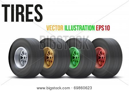 Set of sports car colorful wheels. Vector illustration