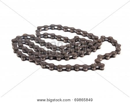 Bicycle Chain On A White Background.