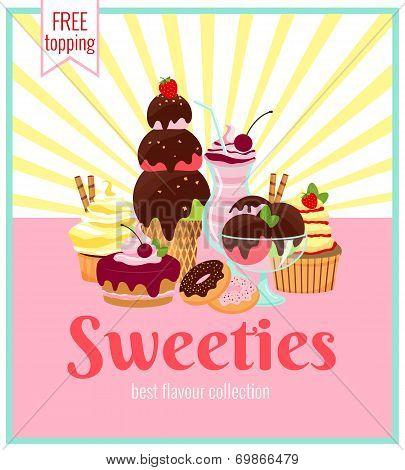 Sweeties retro poster design