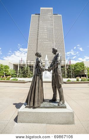 Joseph Smith With Wife In Front Of Lds Main Office Building
