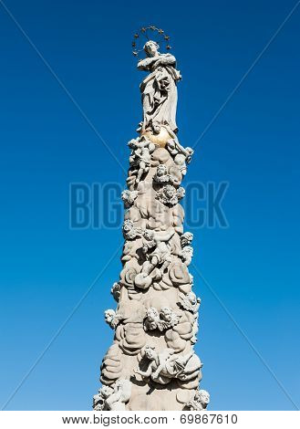 Baroque plague pillar errected in a place of former gallows in 1723, Kosice, Slovakia  poster