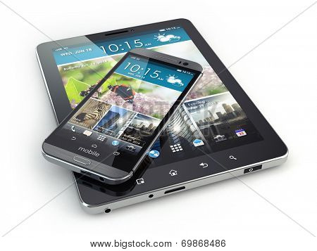 Mobile devices. Smartphone and tablet pc on white isolated background. 3d