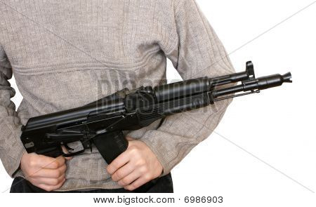 Man With Ak-105 Machine Gun