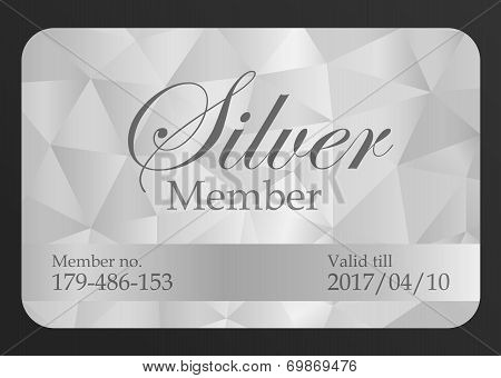 Luxury silver member card with triangle pattern poster