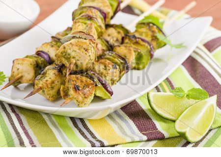 Lime, Mint & Coriander Chicken Kebabs