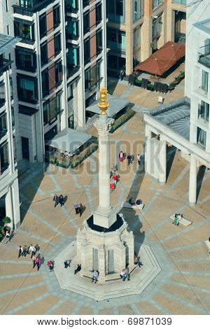 LONDON, UK - SEP 27: Paternoster Square Column in financial district on September 27, 2013 in London, UK. London is the world's most visited city and the capital of UK.