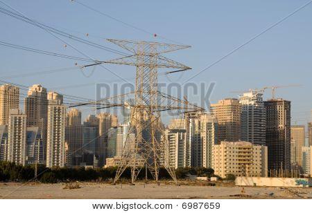 Power Pole And Skyline Of Dubai