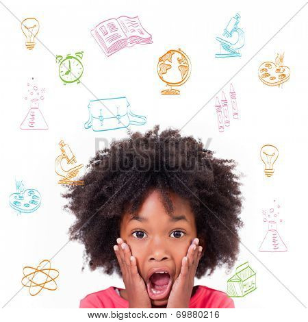 School subjects doodles against shocked little girl poster
