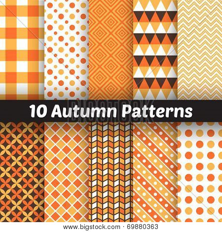 Autumn vector seamless patterns. Endless texture for wallpape